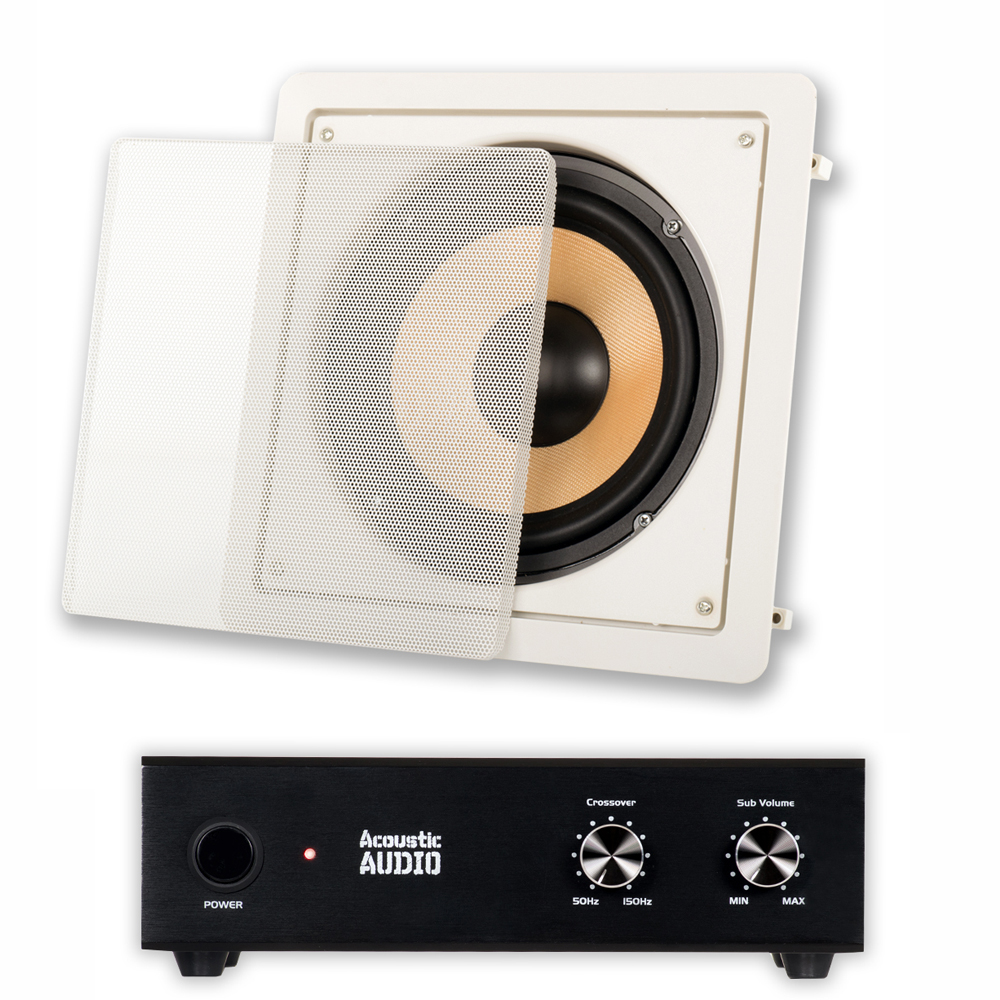 "Acoustic Audio HD-S8 In Wall 8"" Home Theater Passive Subwoofer Speaker and Amplifier"