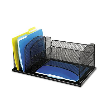 Safco Desk Organizer  Six Sections  Steel Mesh  19 3 8 X 11 3 8 X 8  Black