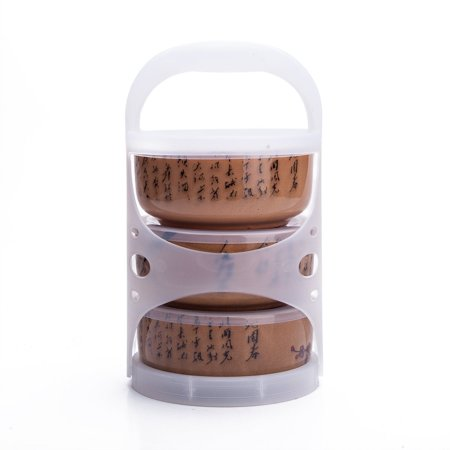 Set Of 3 Ceramic Lunch Bento Boxes / Food Carrier / Food Storage & Organization Container With Lid Brown Plum