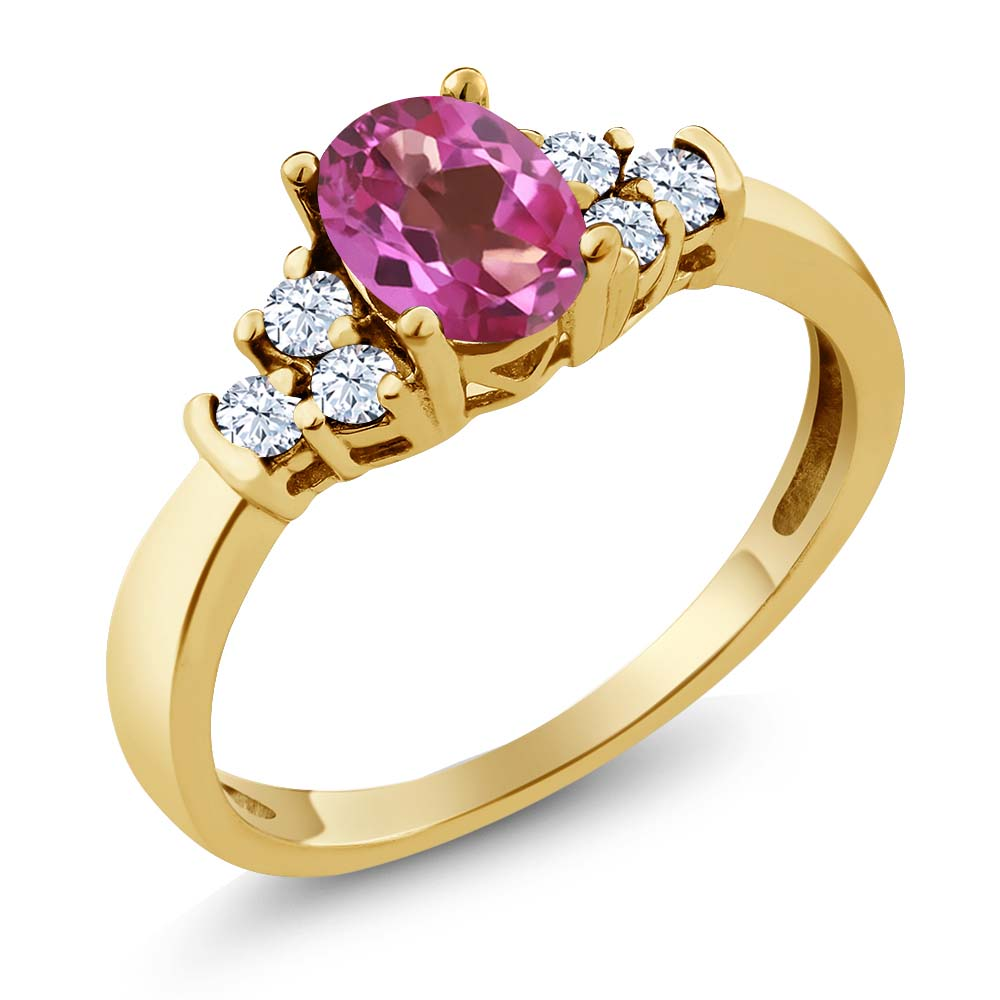 0.82 Ct Oval Pink Mystic Topaz White Topaz 14K Yellow Gold Ring by