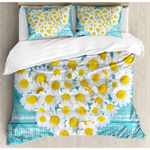Ambesonne Heart Shaped Daisy Flowers Romantic Lovers Chamomile Blossoms Print Duvet Cover Set