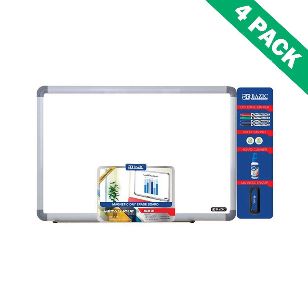 Bazic Dry Erase Board Set, 24 X 36 Wall Mount White Erase...