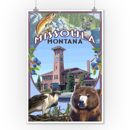 Missoula Montana Town Scenes Lantern Press Artwork 9x12 Art Print Wall Decor Travel