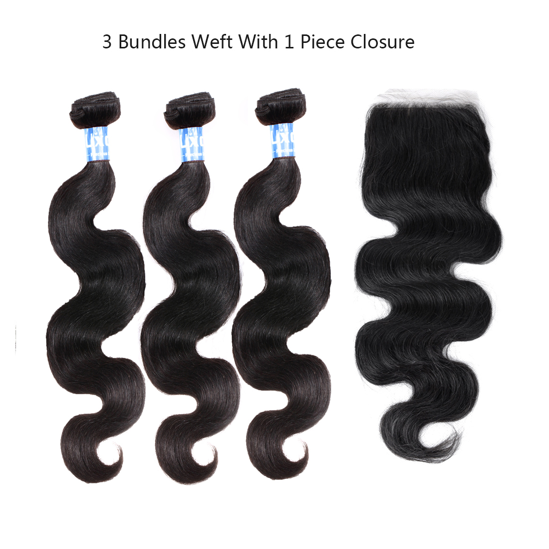 "12""12""12"" 3 Bundles Hair Weft With 10"" Free Part Closure Brazilian 6A Body Wave Human Hair Extension"