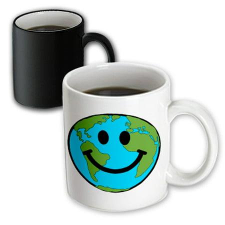 - 3dRose Happy Earth smiley face - smiling planet globe - eco green smile peaceful world peace cute smilie, Magic Transforming Mug, 11oz