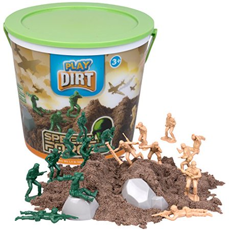 Special Forces Play Dirt Bucket (1.5 Lb) - Unique Kinetic Dirt-Like Sand For Burying and Digging Fun - Includes 16 Army Soldiers and 2 Rock Molds - - Sand Buckets