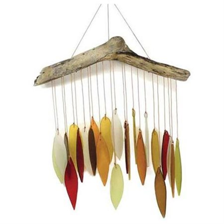 Blue Handworks Autumn Leaves and Driftwood Glass Chime