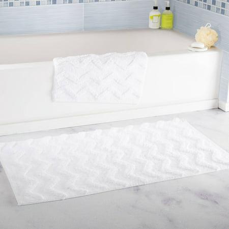 100% Cotton 2-Piece Chevron Bathroom Mat Set by Somerset Home - White ()