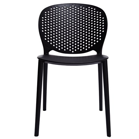 2xhome Black Contemporary Modern Stackable Assembled Plastic Chair Molded With Back Armless Side Matte for Dining Room Living Designer Outdoor LightWeight Garden Patio Balcony Work Office Desk Kitchen ()