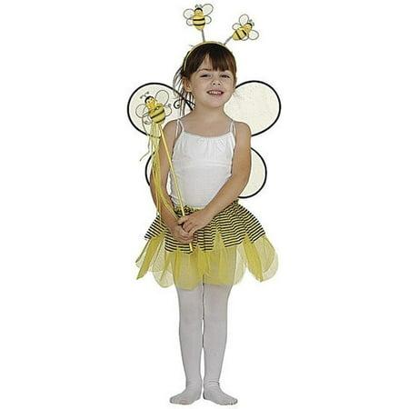 Girls Red Tutu Wings Headband Wand Bumble Bee Halloween 4 Pcs Costume Set (Bee Wings Costume)