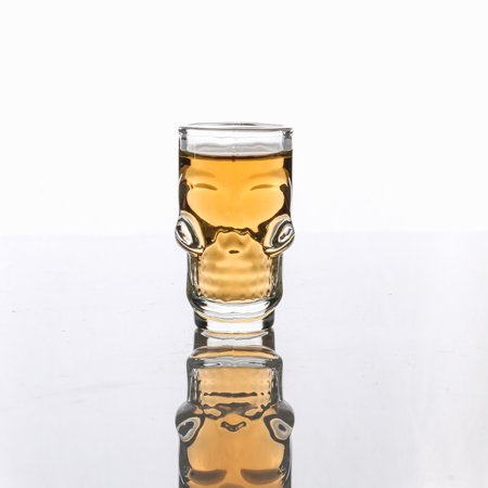 - 3D Transparent Creative Skull Shot Glass Crystal Head Cup for Whiskey Home Bar