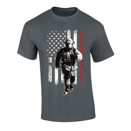 Image of Fireman USA Flag Adult Unisex Short Sleeve T-Shirt-Charcoal-4XL