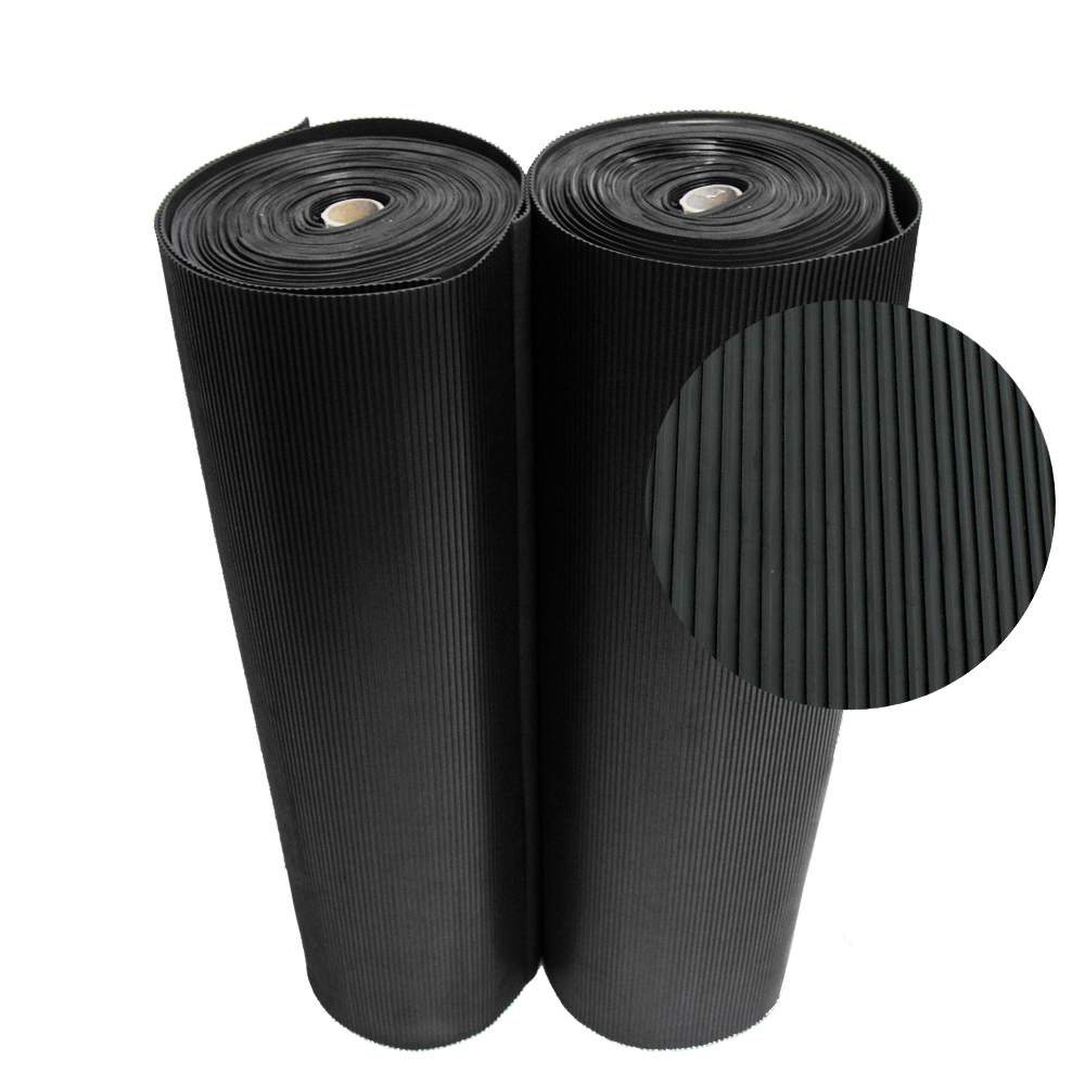 "Rubber-Cal ""Ramp-Cleat"" Non-Slip Outdoor Rubber Mats - 1/8 in x 3 ft x 8 ft Floor Mat"