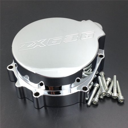HTT- Billet Aluminum Motorcycle Engine Stator Cover For 2003-2004 Kawasaki ZX-6R ZX636 Chrome