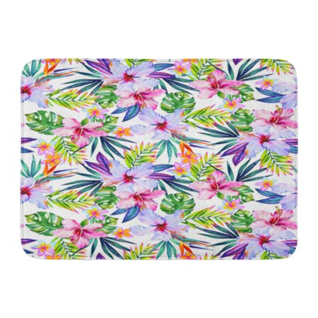 GODPOK Colorful Tropical Paradise Garden with Exotic Flowers and Leaves Jungle Palm and Hibiscus Pink Allover Rug Doormat Bath Mat 23.6x15.7