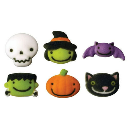 Frightful Friends Assortment Halloween Sugar Decorations Toppers Cupcake Cake Cookies 12 Count (Halloween Wedding Toppers)