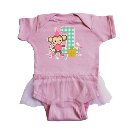 Im 1 Years Old With Monkey Pink Infant Tutu Bodysuit - Monkey Onesie