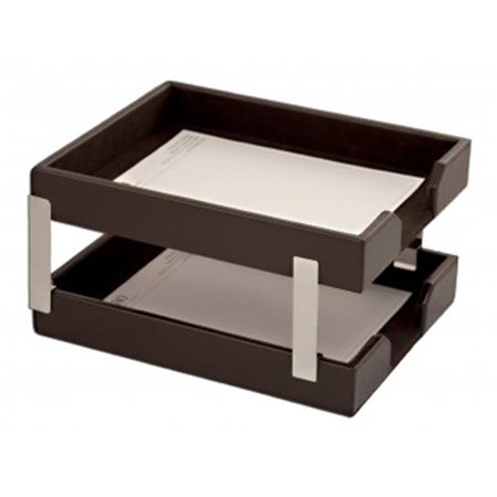 Dacasso  Econo-Line Leather Double Letter Trays - Dark Brown
