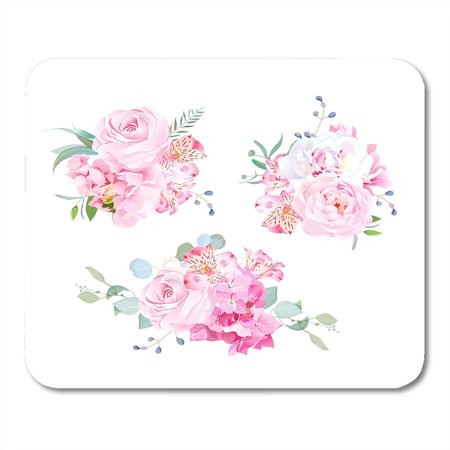 KDAGR Gentle Mix of Pink Bouquets Rose Alstroemeria Lily White Peony Hydrangea Eucalyptus Plants and Herbs Mousepad Mouse Pad Mouse Mat 9x10 inch