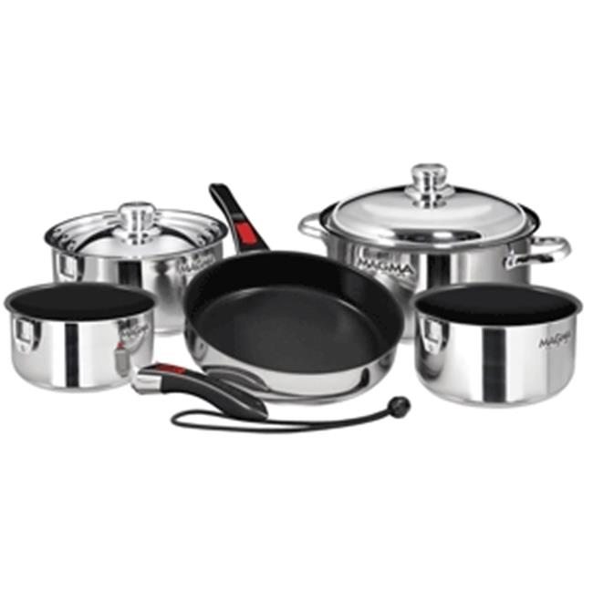 Magma A10-366-2 Nesting 10-Piece Cookware - Stainless Steel Exterior & Slate Black Ceramica Non-Stick Interior