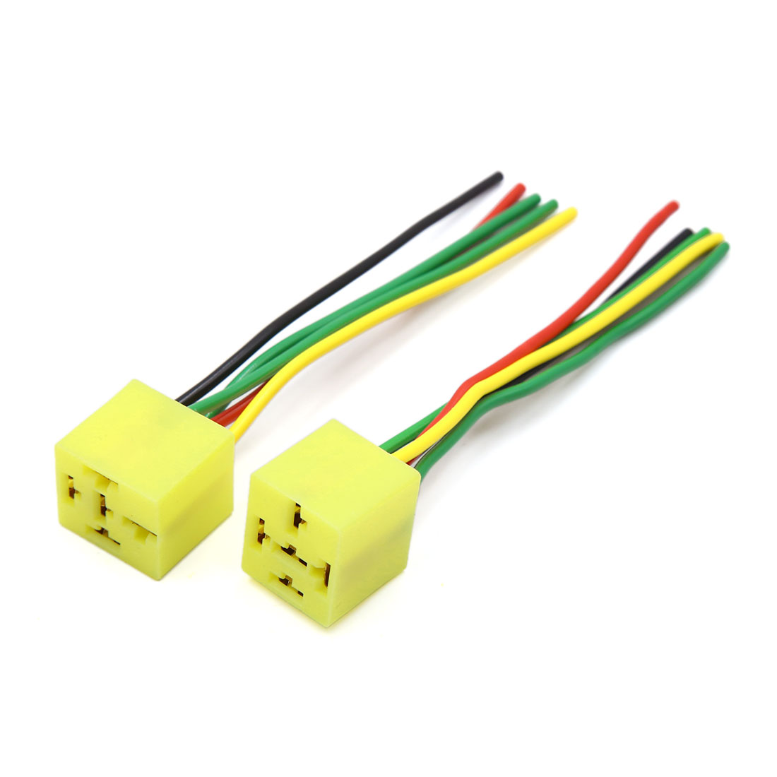 2 Pcs Yellow Plastic 5 Terminal Wire Car Relay Socket Harness Connector Finder