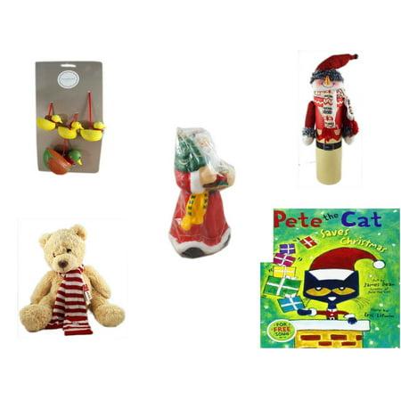 Christmas Fun Gift Bundle [5 Piece] - Martha Stewart Woodland Set of 4 Duck  Ornaments - Wine Gift Box Snowman - Wax Santa Candle 7