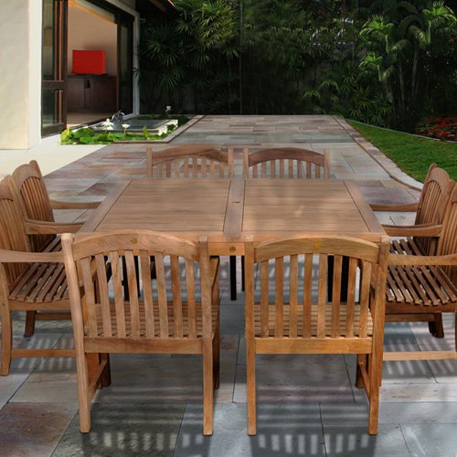 Click here to buy Amazonia Edmonton 9 Piece Teak Square Patio Dining Room Set by International Home Miami Corp.