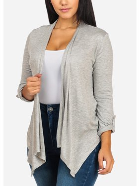 Product Image Womens Juniors Stylish Lightweight Roll Up Sleeve Open Front  Asymmetrical Grey Cardigan 21224P edaabd055
