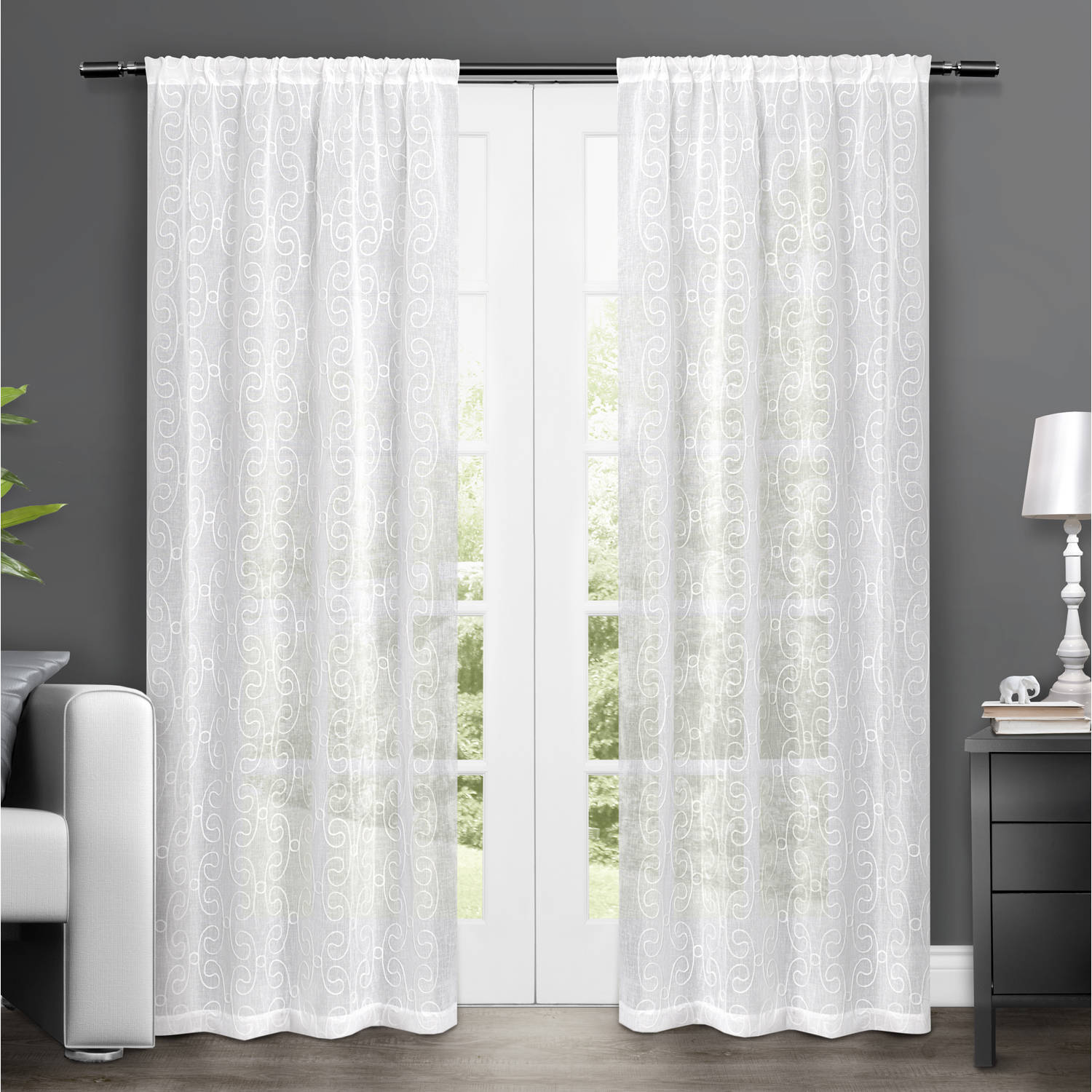 """Exclusive Home Salzberg Embroidered Semi-Sheer Rod Pocket Window Curtain Panels, 50"""" x 84"""", White, Set of 2"""
