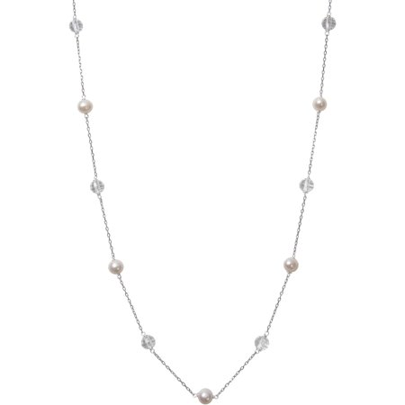 """White Cultured Freshwater Pearl and Crystal Bead Sterling Silver Chain Link Tin Cup Necklace, 18"""""""
