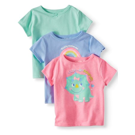 Solid & Graphic T-Shirts, 3pc Multi-Pack (Baby Girls)
