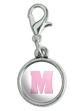 e0aa8a168 Product Image Letter M Initial Baby Girl Block Font Pink Shower Antiqued  Bracelet Pendant Zipper Pull Charm with
