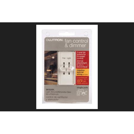 Lutron Electronics S2-LFSQH-LA Dimmer Light/Fan Control, Light Almond