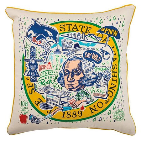 Washington State Home Decorative Throw Pillow 20-Inch Square