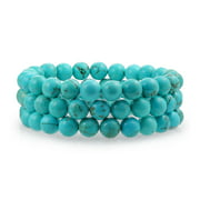 Simple Plain Set Of 3 Stabilized Turquoise 8MM Ball Bead Stones Stackable Strands Stretch Bracelet for Women for Teen