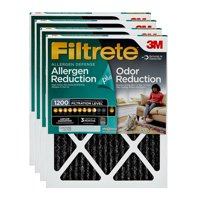 Filtrete 16x25x1, Allergen Plus Odor Reduction HVAC Furnace Air Filter, 1200 MPR, Pack of 4 Filters