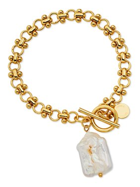 Scoop Brass Yellow Gold-Plated Imitation Pearl Link Toggle Bracelet, 7.5''