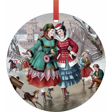 Ornaments Vintage Style Village Girls Ice Skating on the Lake Christmas Painting Semigloss Flat Round Shaped Ornament Xmas Tree Christmas Décor - Christmas Room Décor and Ornament Yard Decorations](Girls Village)