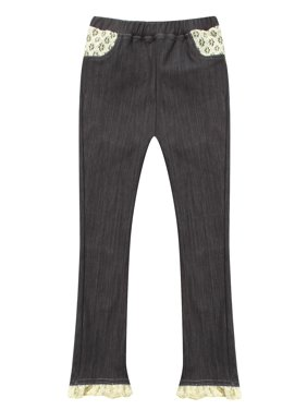 Richie House Girls' Denim tight trousers with lace details RH0999