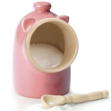 Rsvp Pink Stoneware Salt Pig Shaped Keeper Server Dish