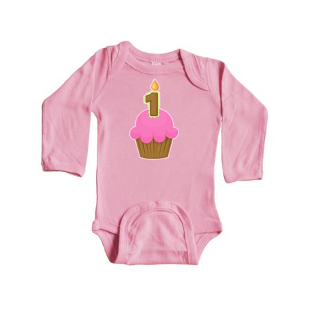 Pink 1st Birthday Cupcake Long Sleeve Creeper ()