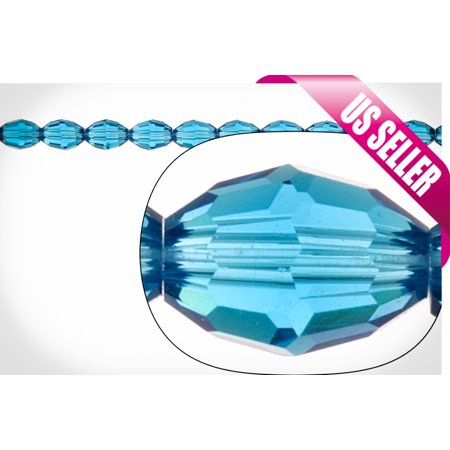 Blue Oval Crystal Beads 8x6mm, 42-Facet Surface Cutted, 48pcs / string of 16 inchs ()