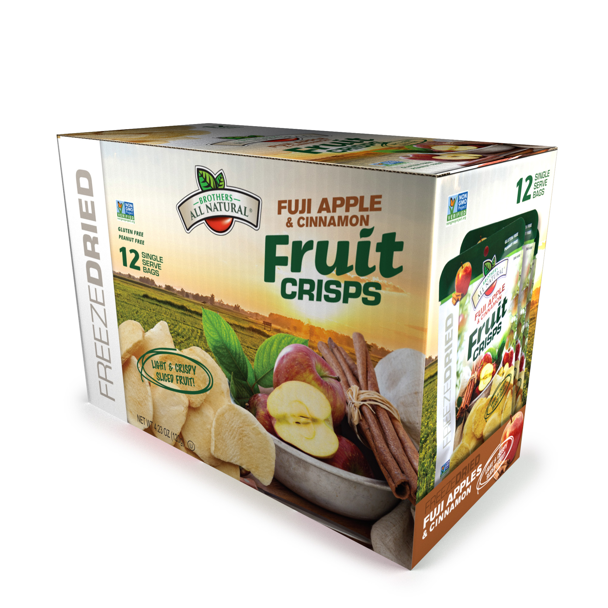 Brothers All Natural® Freeze-Dried Fuji Apples Cinnamon Fruit Crisps, 12 ct