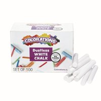 Colorations Dustless White Chalk, 100 Piece Bulk Pack, Value, Multi-Colored, for Kids, Classroom, Learning, Drawing, Create, Play, Non-Toxic, 3 inches x 3/8 inch (Item # NODUST)