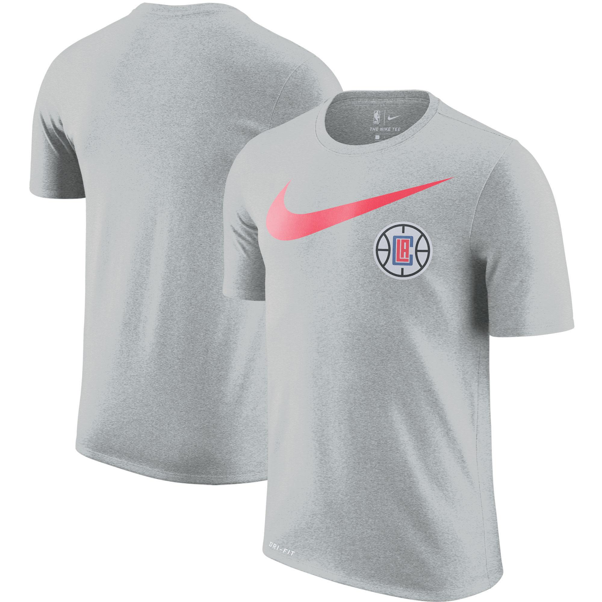 LA Clippers Nike Essential Swoosh Logo Legend Performance T-Shirt - Heather Charcoal