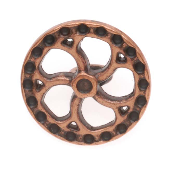 Antiqued Copper Plated Steampunk Art Deco Wheel Button 15mm (1)
