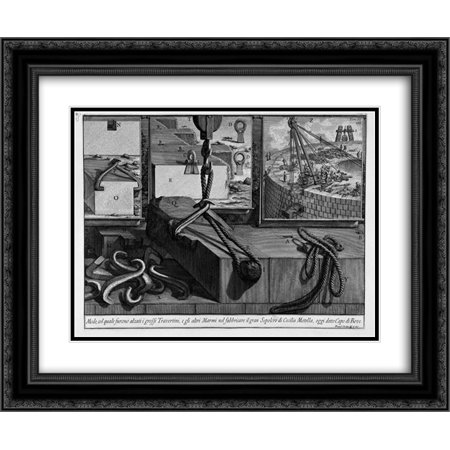 Giovanni Battista Piranesi 2x Matted 24x20 Black Ornate Framed Art Print 'The Roman antiquities, t. 3, Plate LIV. Way in which they were raised big travertine, marble and other (Liv Cover Charge)