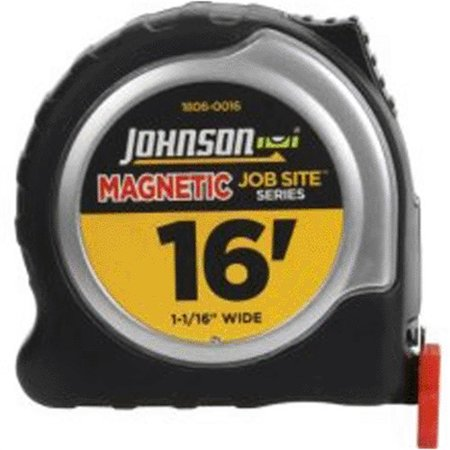 Johnson Level & Tool 1806-0016 Job Site Power Tape Measure, Magnetic Tip, 1-1/16 In. x