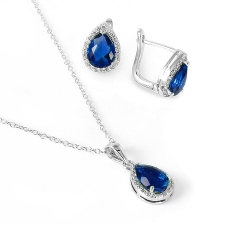 Pear Shaped Sapphire (.925 Sterling Silver Rhodium Plated Pear Shaped Created Blue Sapphire Earring Pendant  Necklace)