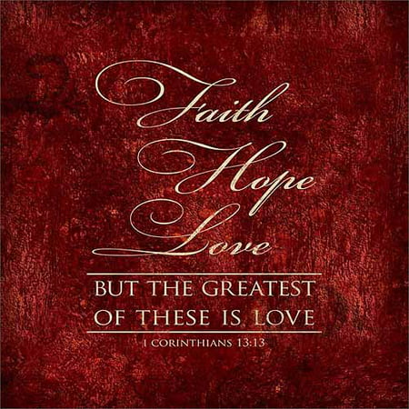 Faith, Hope, Love Corinthians Distressed Religious Texture Typography Red & Tan Canvas Art by Pied Piper Creative